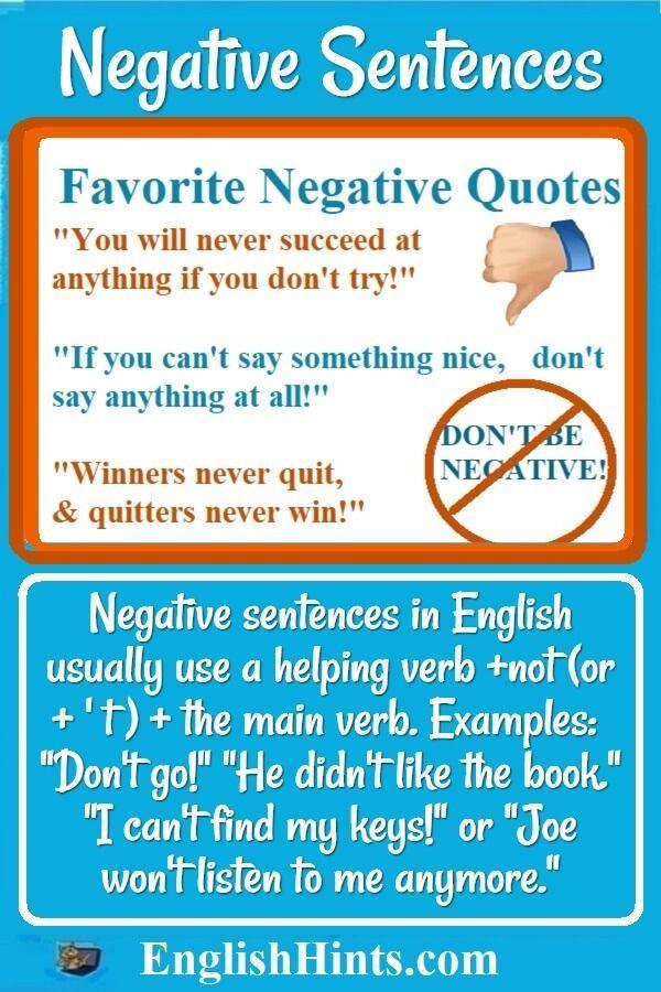 Negative Sentences Dont Forget The Dont Pinterest