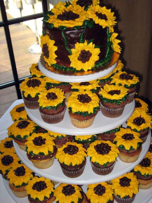 sunflower wedding Cake Toppers | Sunflower Wedding Cakes Cupcakes ...