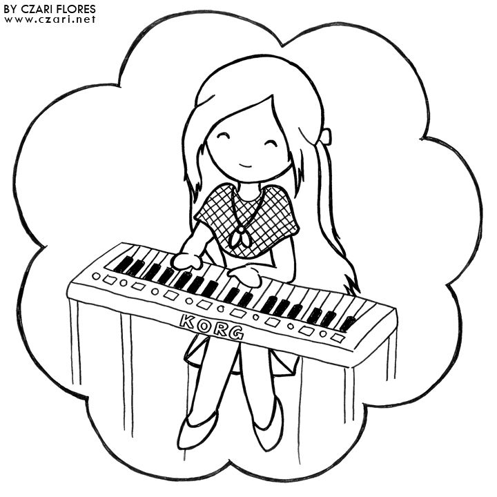 girl playing piano coloring page  coloring sheets piano