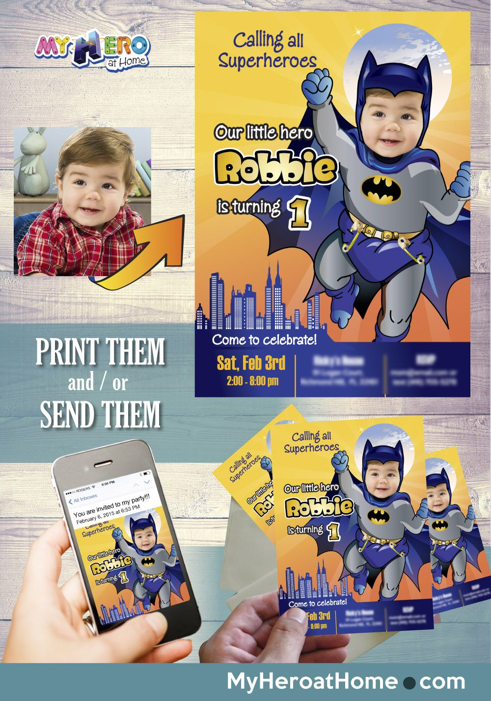 Baby Batman 1st Birthday Invitation First Mini Cute Sample Batman1stBirthdayParty Batman1stPartyIdeas BabyBatman