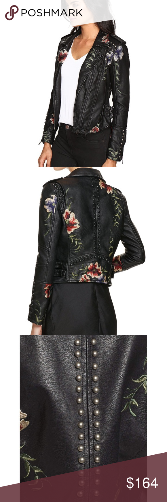 NWT Blank NYC Floral embroidered Moto Jacket NWT FALL 2017! Gorgeously  embellished faux leather moto jacket by BLANKNYC. In a tailored fit with  dual ...