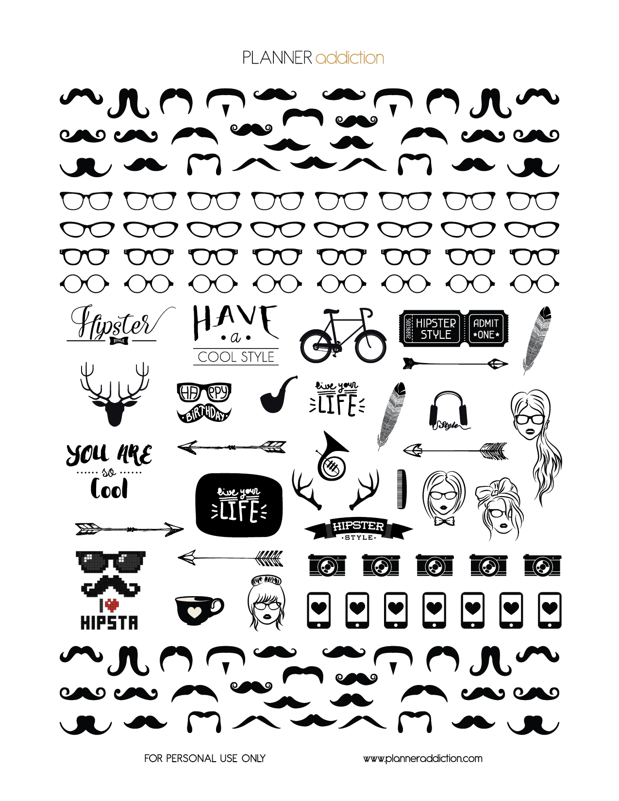 Planner Stickers Printable Black And White