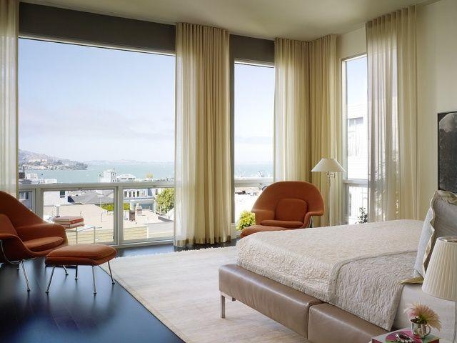 Schlafzimmer Einrichten Panoramafenster Dekoration Feine  Textilien Gardinen Chloe Warner