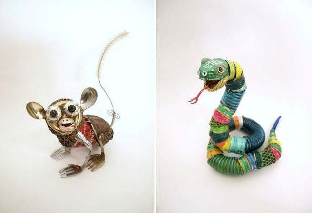 Animal sculptures made from recycled materials by natsumi for Projects made out of recycled items