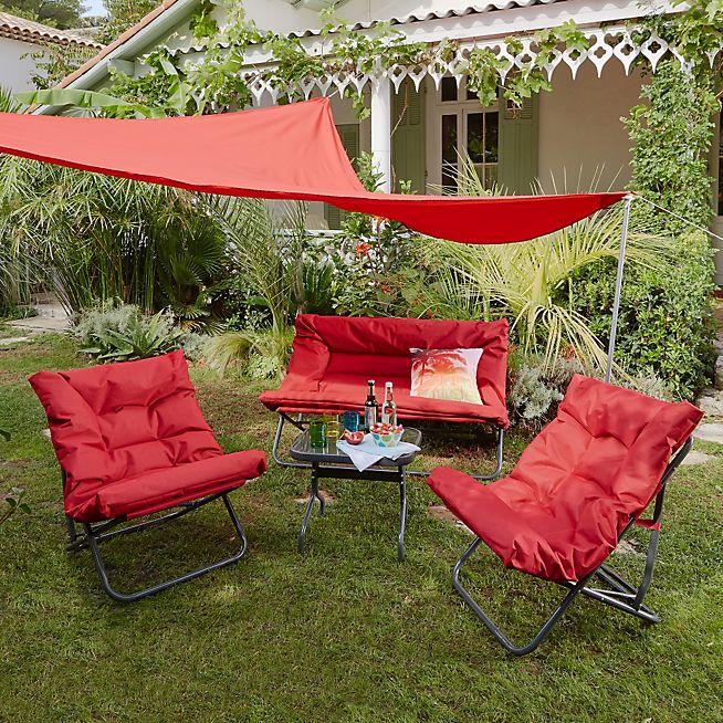 Salon de jardin rouge - Jardin piscine et Cabane