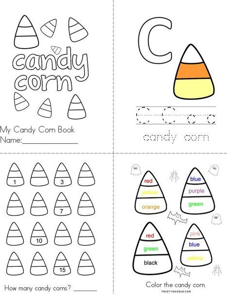 Candy Corn Book From Twistynoodle Com Candy Corn Mini Books Halloween Coloring Pages