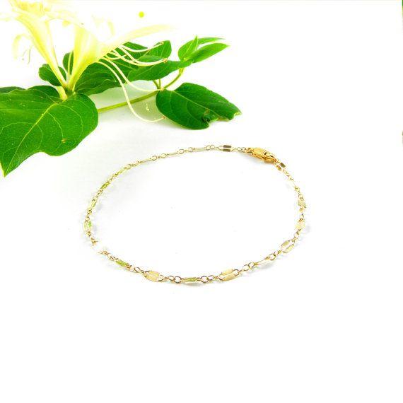 14k Gold Chain Bracelet, Minimalist Gold Bracelet, Dainty Bracelet, Chain Layering Bracelet, Gift for Her, Teen Gift, Birthday, Mothers day ~ Visit http://etsy.me/26lorKv  for little luxuries #mothersdaygift #giftforher #giftideas #shoppingideas