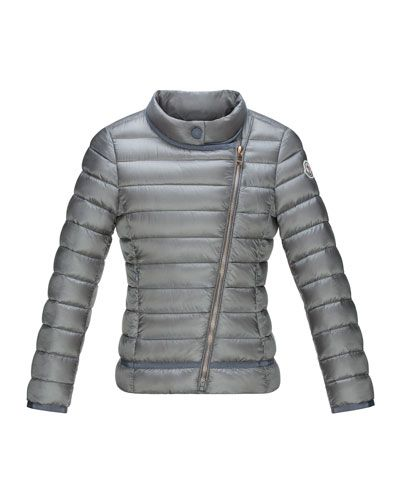 10647b32a6d3 Z1FB5 Moncler Amy Long Asymmetric-Front Quilted Jacket