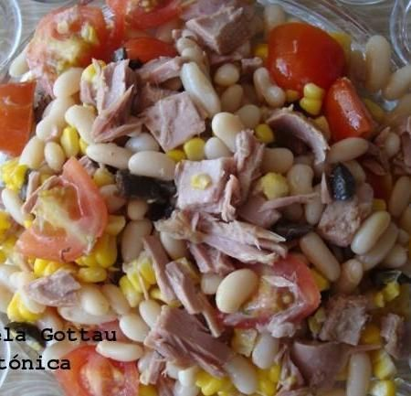 Ensalada de alubias y at n receta saludable ensaladas ensalada de alubias ensaladas y - Ensalada fria de judias blancas ...