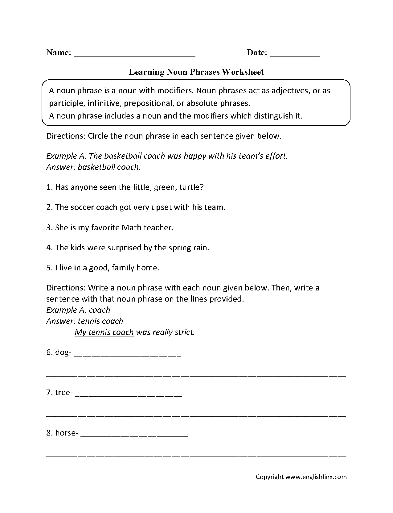 Learning Noun Phrases Worksheets