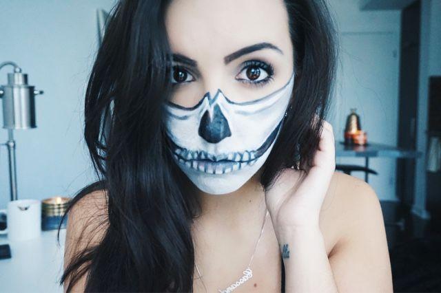 Easy Half Skull Makeup Tutorial Skulll