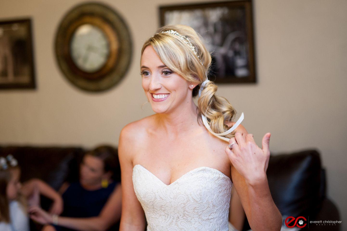 wedding hair and makeup by rachel monahan austin tx bride side ponytail
