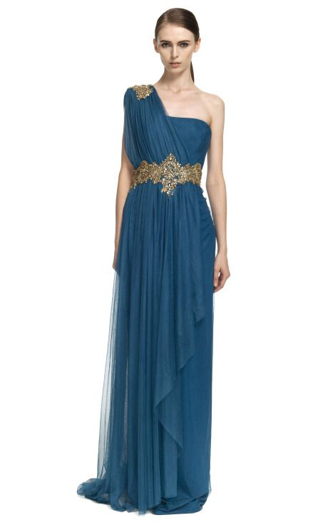 Marchesa One-Shoulder Georgette Gown With Tulle Overlay   Spring ...