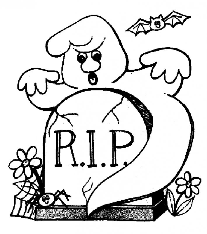 Ghost at the graveyard coloring pages | Fantasy Coloring Pages ...