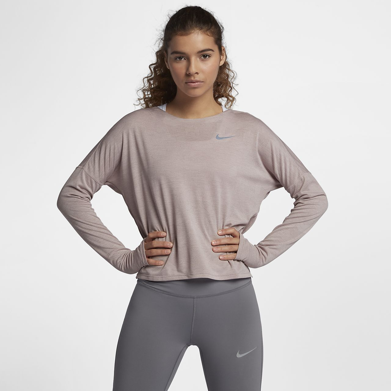 6eb16231 Nike Medalist Women's Long Sleeve Running Top in Particle Rose/Barely Rose