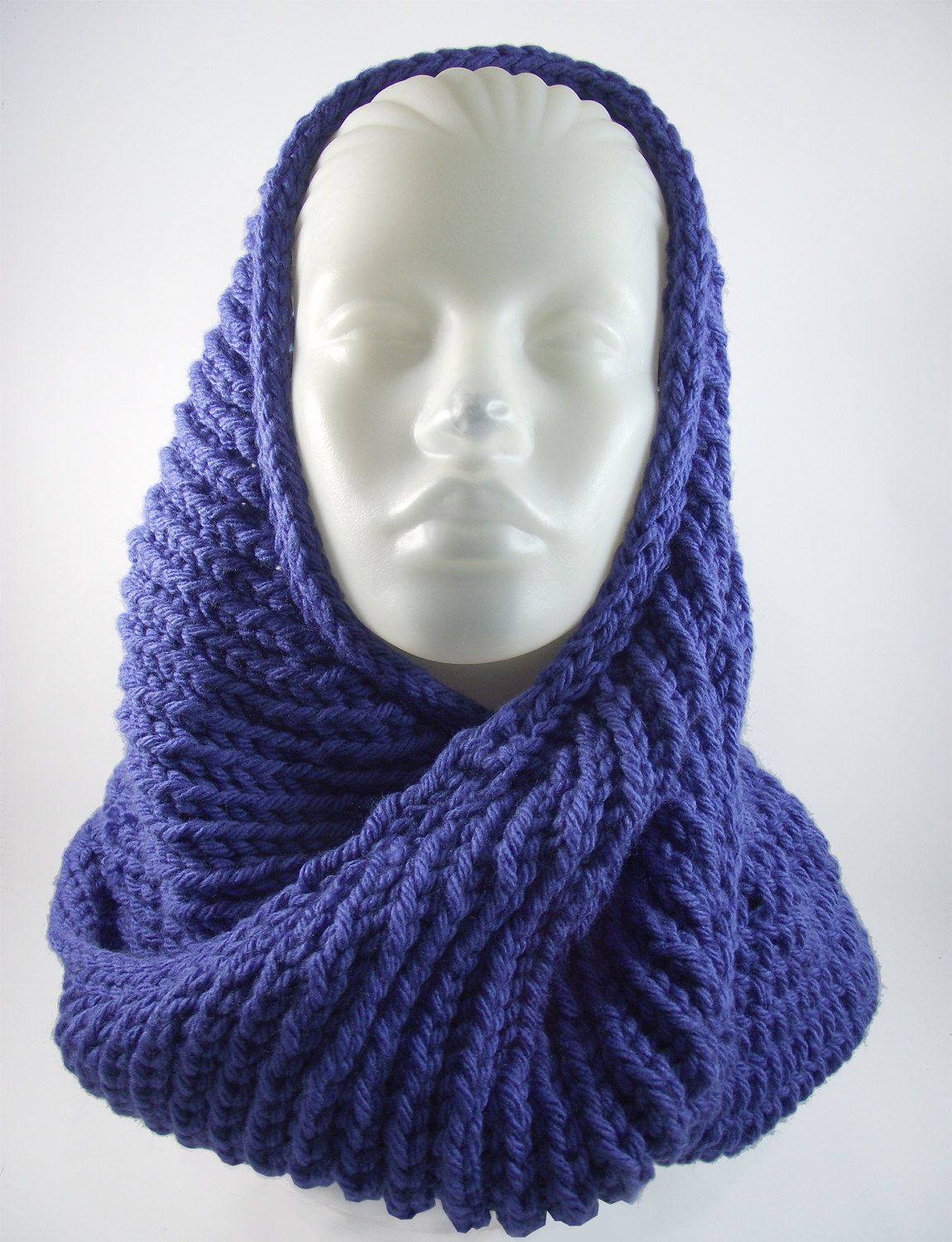 Seamless Scarf- Infinity Scarf-Handmade-Christmas-Gift-Knitted Scarf-Dark Blue Scarf-Winter Accessories-Winter Shawl-Present- by duduhandmade on Etsy