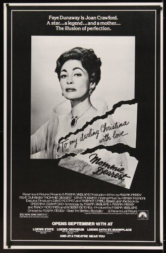 MOMMIE DEAREST half subway movie poster 81 great portrait of Faye Dunaway as Joan Crawford. This movie is a good oldie, but parts are rough.