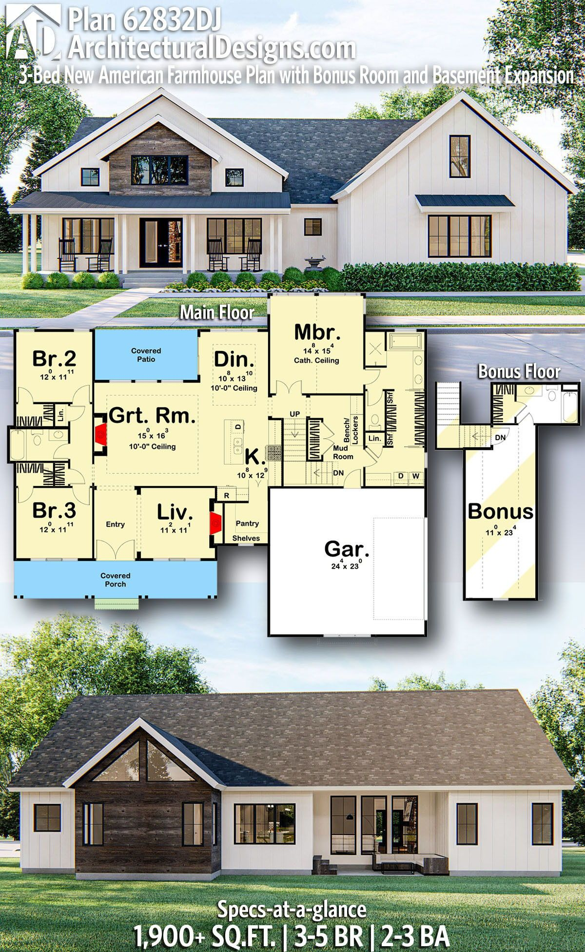 Plan 62832dj 3 Bed New American Farmhouse Plan With Bonus Room And Basement Expansion House Plans Farmhouse Craftsman House Plans Farmhouse Plans