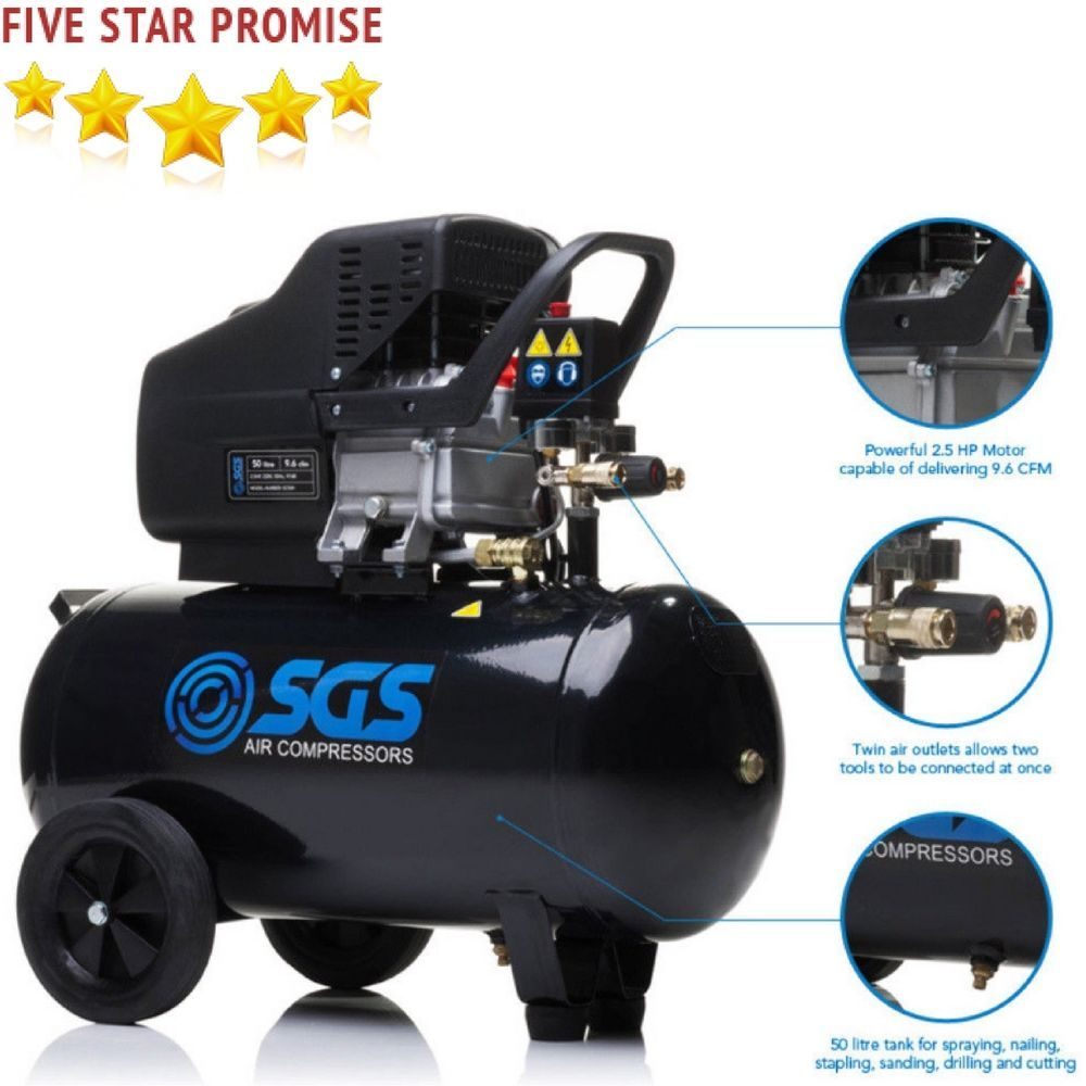 2 5HP Performance Compressor Air Tool 50 Litre Garage
