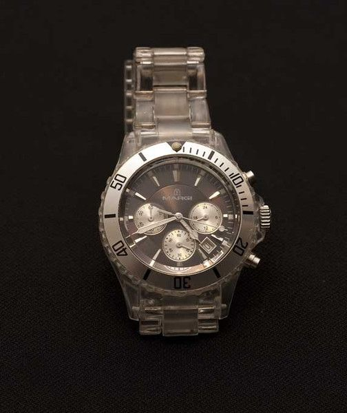 """Italian made """"Margi"""" Watch with clearLucitefashion band. $100"""