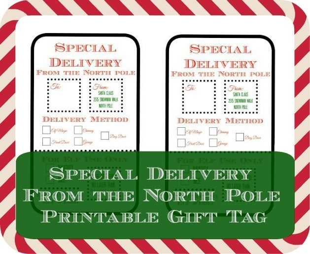 Special delivery from the north pole printable gift tag special delivery from the north pole printable gift tag giftingamemory collectivebias ad negle Choice Image