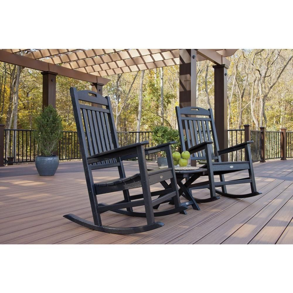 Trex outdoor furniture yacht club charcoal black 3 piece patio rocker set