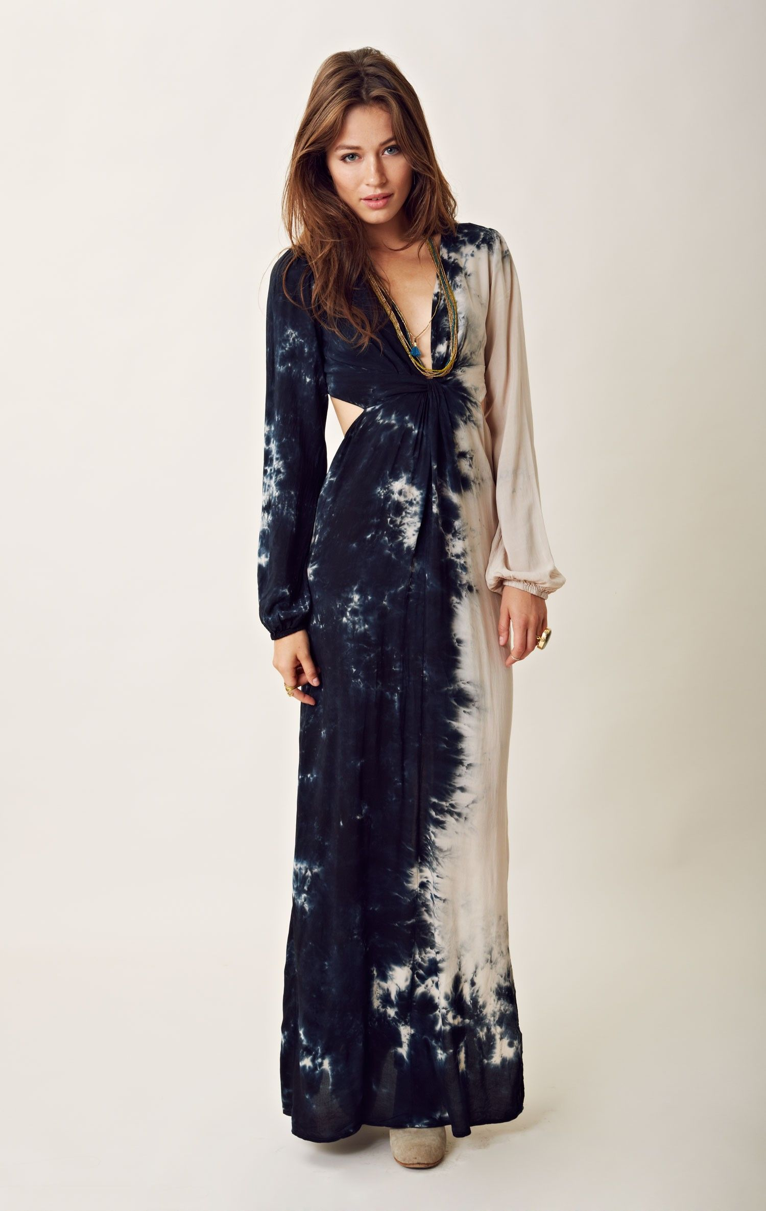 Tie dye twist bell sleeve maxi dress wardrobe ideas pinterest