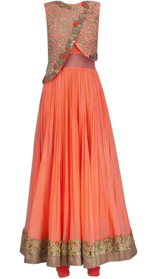 Orange gown | Lehengas and half sarees | Pinterest | Gowns, Gold ...