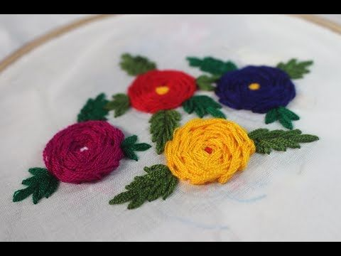 Hand Embroidery Designs   Rosette stitch with flower design https://youtu.be/asGsw_onNww Store: http://handembstitch.blogspot.com/p/embroidery-store.html It is a known fact that over the years embroidery has been one of the most needed things across the