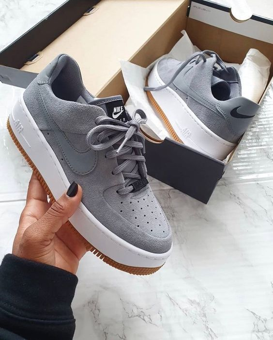 grey air force 1s - not leather por favor