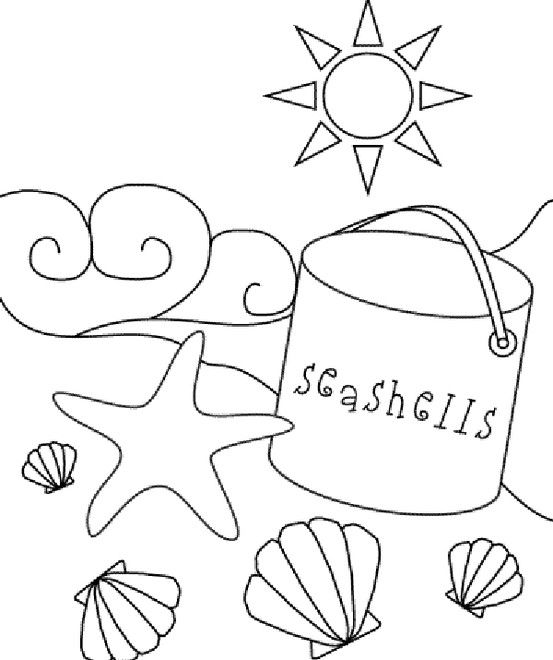 beach sea shell coloring page - Seashell Coloring Pages Printable
