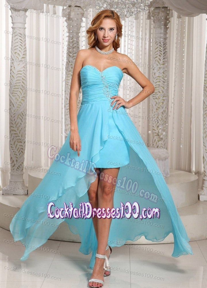 0557a7c581 Girly High-low Beaded Aqua Blue Prom Cocktail Dress for Women ...
