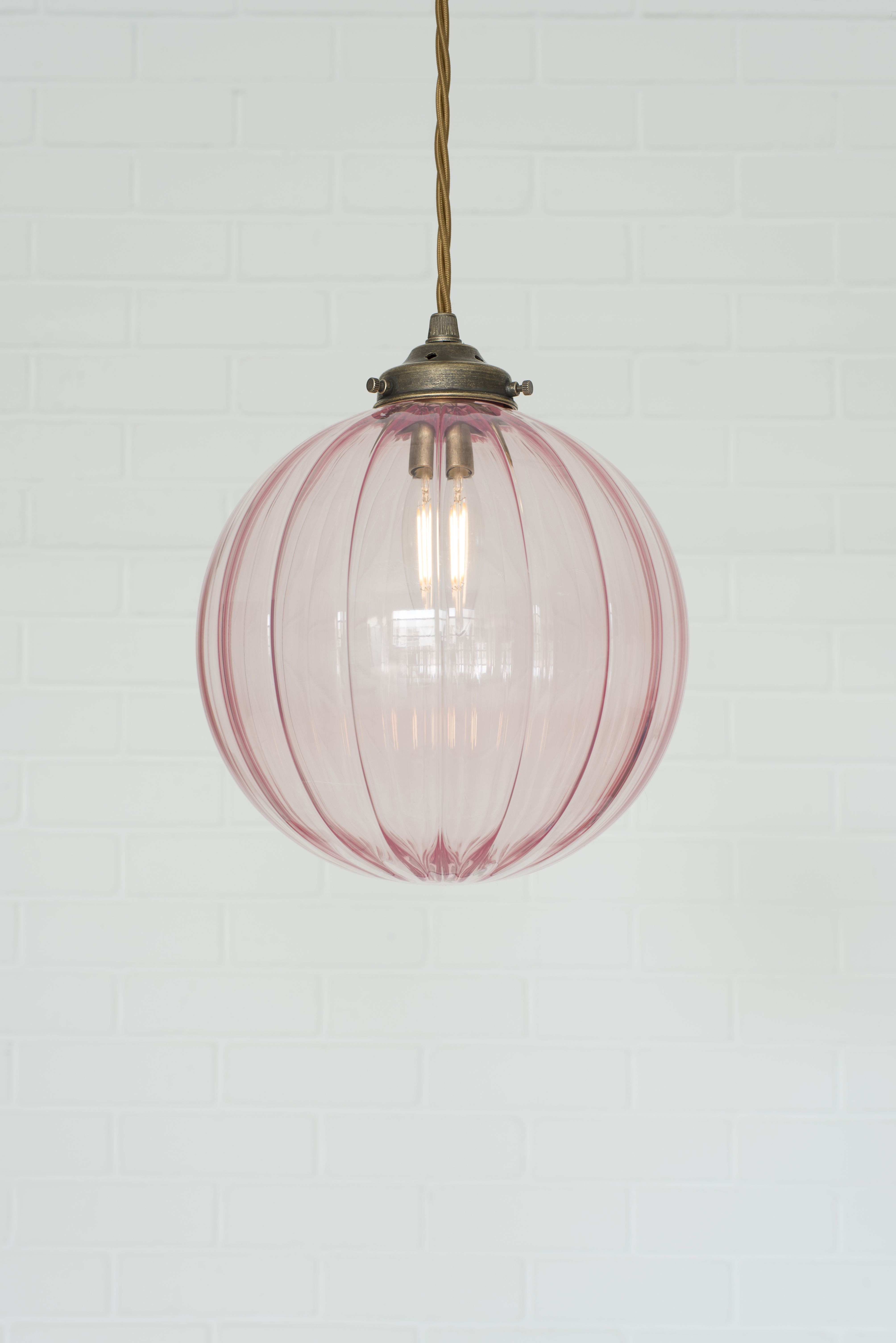Dusky Pink Glass Fulbourn Pendant Light by Jim Lawrence  Glass