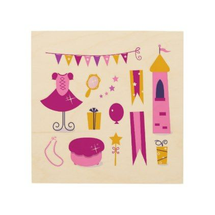 #party - #Wood wall art with Princess graphic