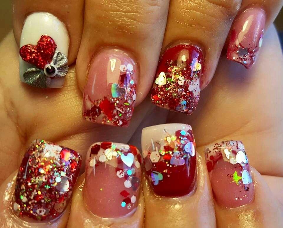 Corazon,full tono,brillo encapsulado,dos tono | uñas de san valentin ...