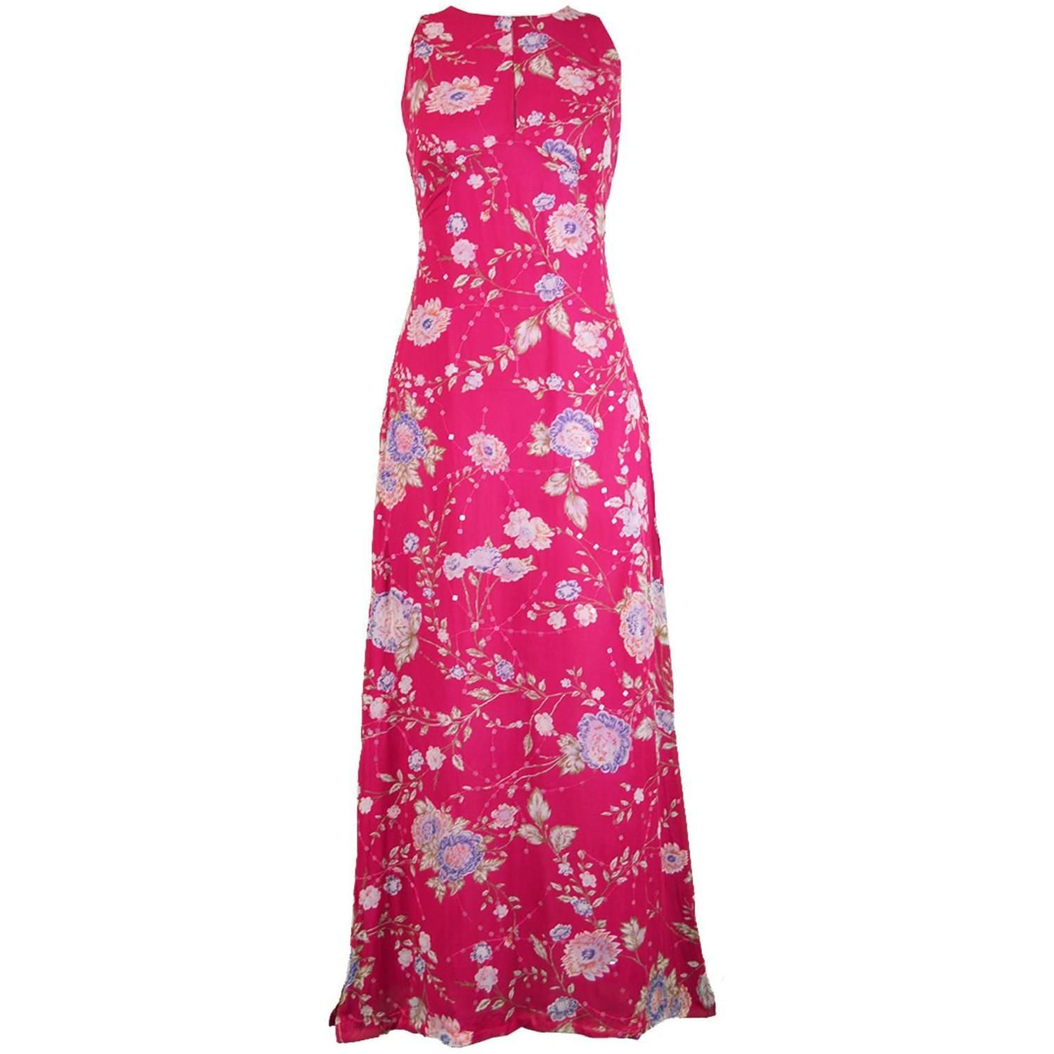434c75dd Emanuel Ungaro Vintage Fuschia Silk Floral Asian Maxi Dress, 1990s | See  more vintage Chinese