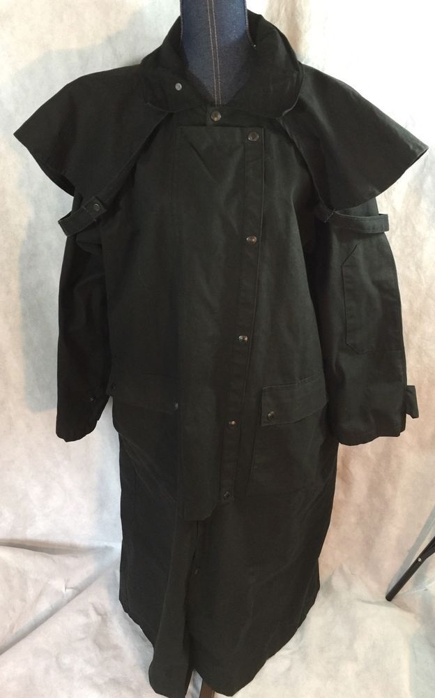Mens JACKEROOS Outback Australian OILSKIN WAX DUSTER Black Drover Coat  Jacket M  4033139ed01e