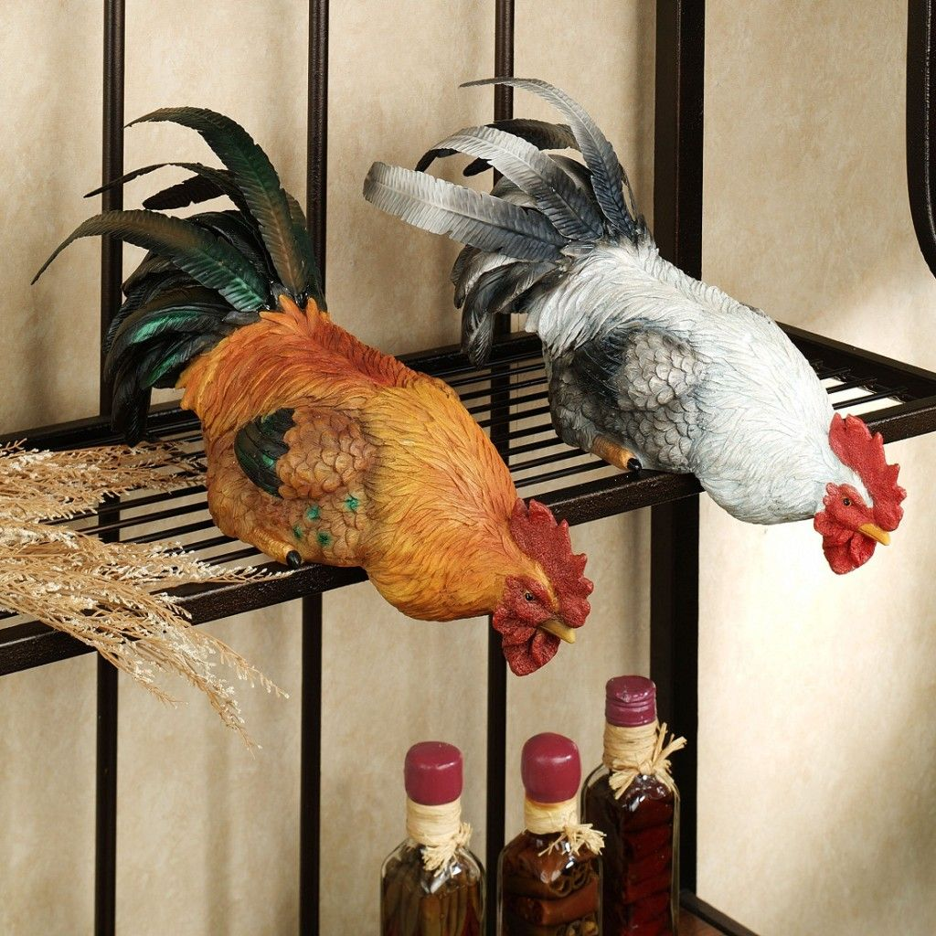 Decorative Chickens For Kitchen Fun Painted Metal And Wire Rooster Kitchen Basket Apples