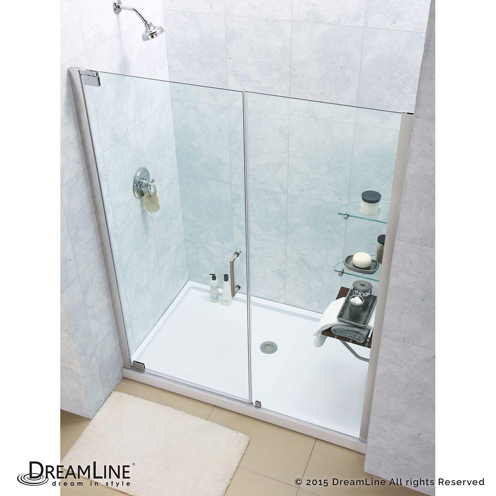 Elegance 32-inch x 60-inch x 74.75-inch Semi-Frameless Pivot Shower ...