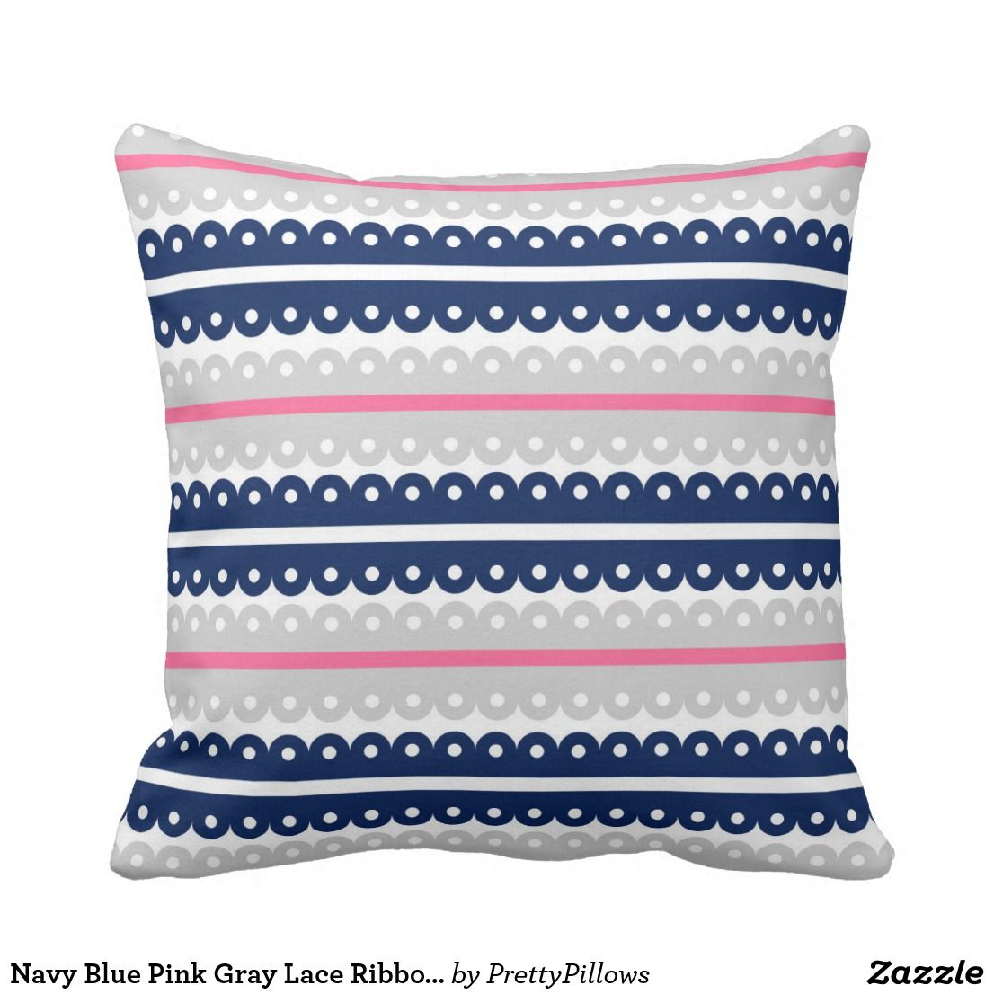 Navy blue pink grey lace ribbon stripe pillow mixers pillows and