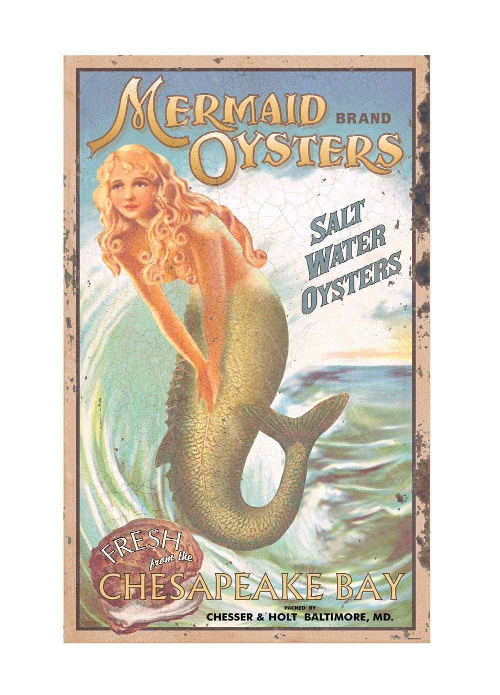 Bathroom sign in book - Amazon Com Ohio Wholesale Mermaid Advertising Sign Wall Art From Our Water Collection