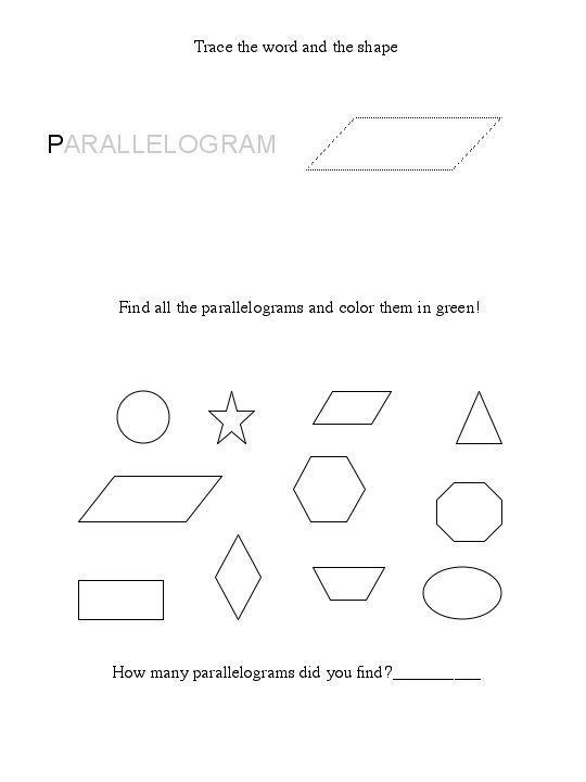 Parallelogram Shape Worksheet