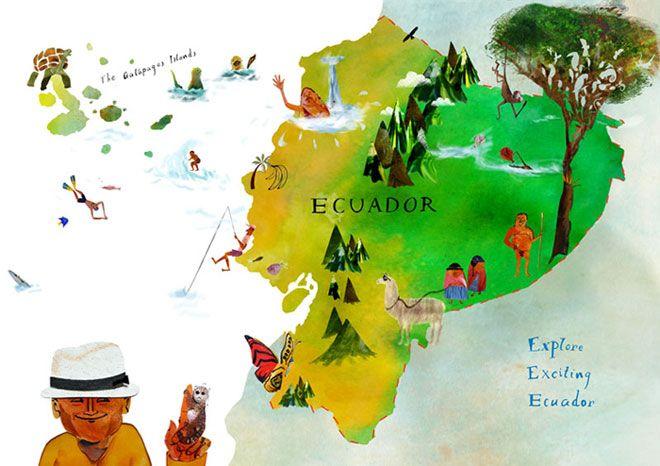 Ecuador Illustrated Map Maps Pinterest Illustrated Maps - Ecuador map
