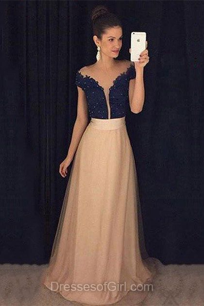 Aline Prom Dresses Tulle Prom Dress Scoop Neck Evening Gowns Navy