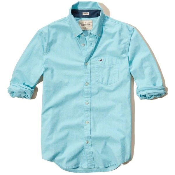 Hollister Solid Poplin Shirt (15 BHD) ❤ liked on Polyvore featuring men's  fashion,
