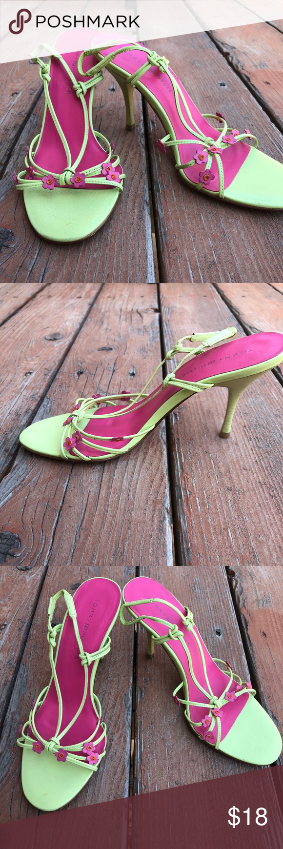 a6b90dc71 Tommy Hilfiger green pink Floral high heels shoes Tommy Hilfiger women s  lime green and pink strappy