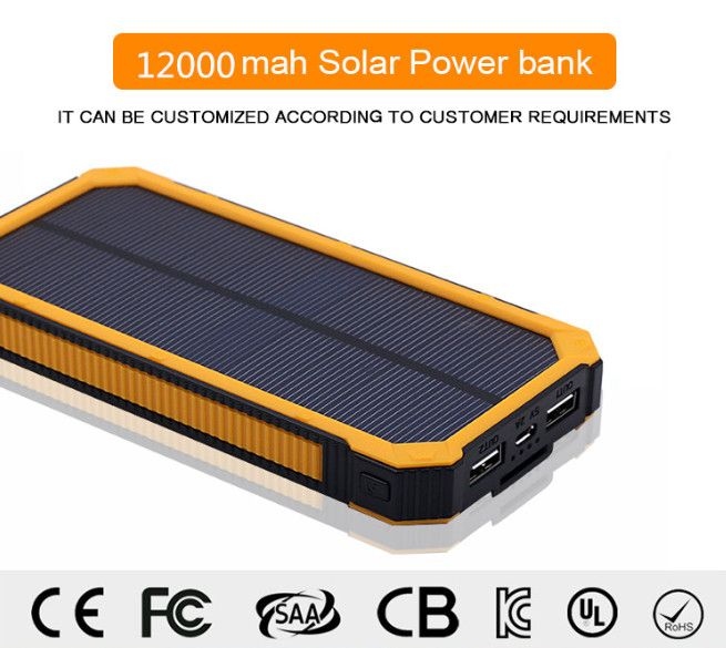 Dual Usb 12000mah Solar Battery Chargers High Capacity Double Usb Solar Energy Panel Power Bank Solar Battery Charger Mobile Power Supply Power Bank Charger