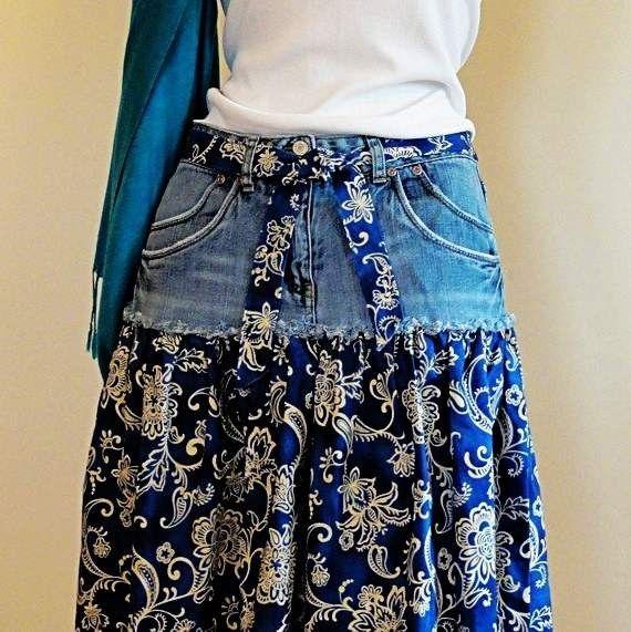 Джинсовые юбки с кружевом фото своими руками