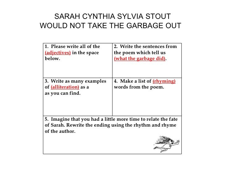 picture about Sarah Cynthia Sylvia Stout Printable identified as SARAH CYNTHIA SYLVIA STOUT WOULD NOT Choose THE Rubbish OUT