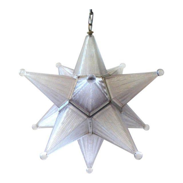 Vintage Mid-Century Glass Moravian Star Pendant Light